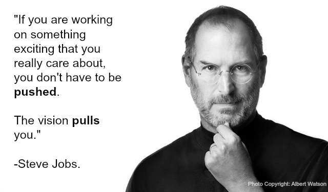 when vision pulls, don't need pushed, Steve Jobs vision